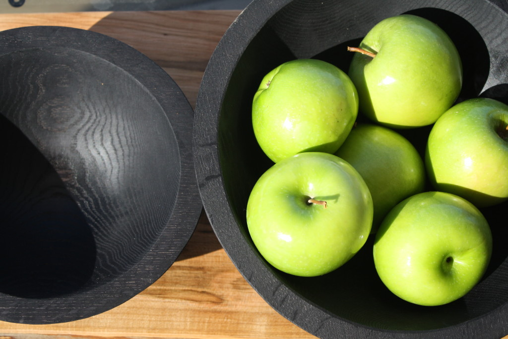 "Ebonized Oak Bowls - 11"" and 14"""